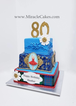 Scottish theme 80th birthday cake