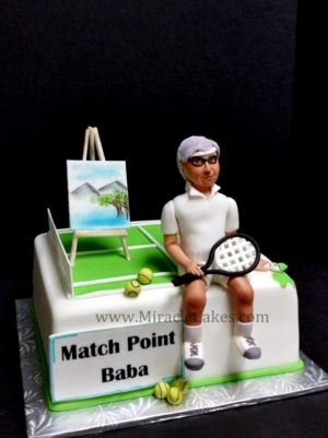 Paintings and Tennis Retirement cake