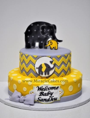 Elephant theme baby shower cake-3