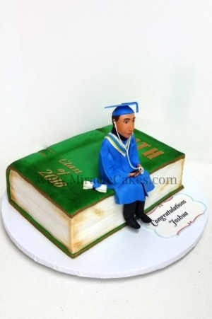 3D book cake with a figurine for a graduation