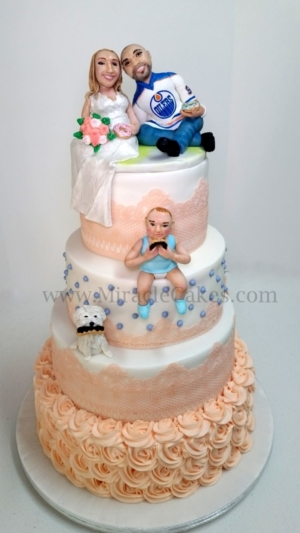 Wedding Cake  with figurine toppers