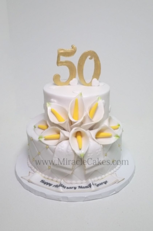 50th Anniversary cake with gum-paste Calla Lilies