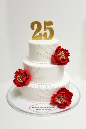 Anniversary cake with gum-paste peonies