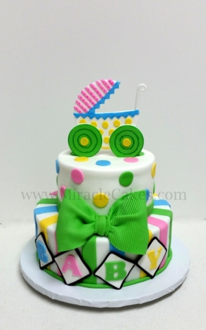 Pink , Green and Blue baby shower cake