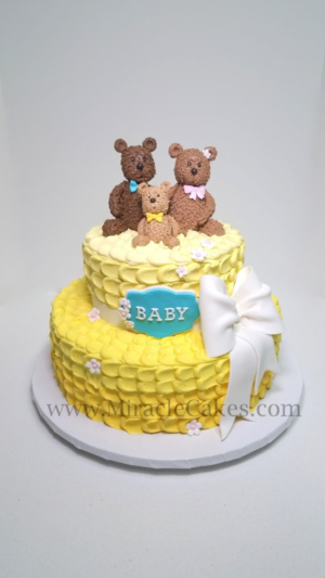 Baby shower cake with edible bear figurines