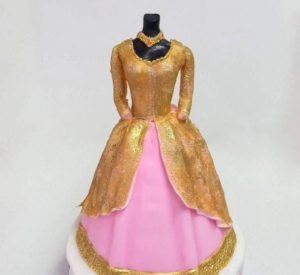 Pink and Gold Lengha  cake