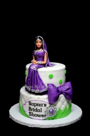Bridal shower cake with a Indian bride figurine