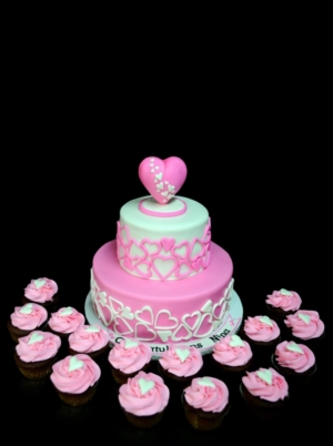 Pink and white hearts bridal shower cake