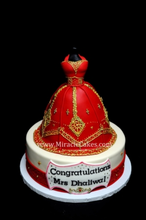 Red and gold Lengha cake