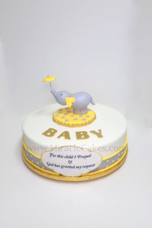 Elephant theme baby shower cake