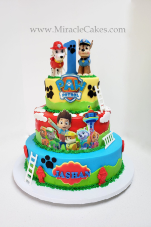 PawPatrol cake with Chase & Marshall figurines