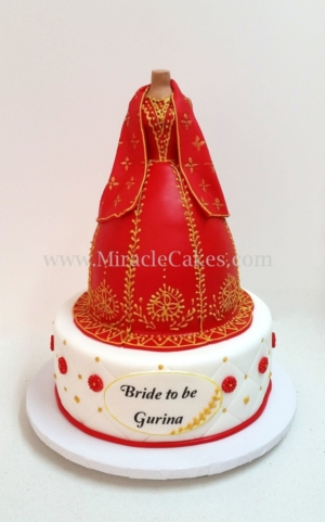 Red and Gold Lengha cake -2