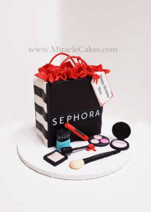 Sephora bag with cosmetics