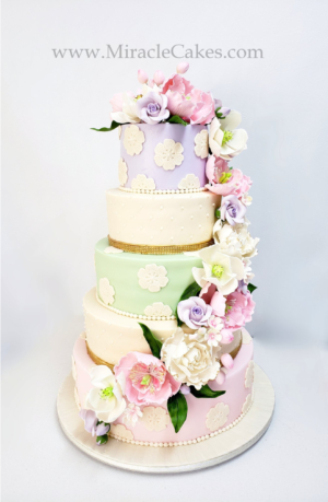 Wedding Cake with spring flowers