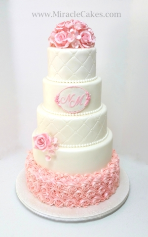 Wedding cake with pink sugar Roses and Hydrangeas