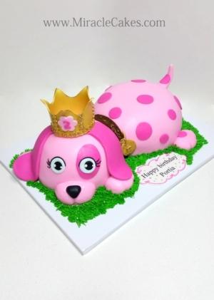 Pink puppy cake