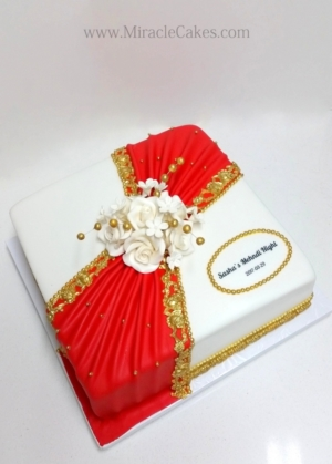 Red and Gold detailed bridal shower cake