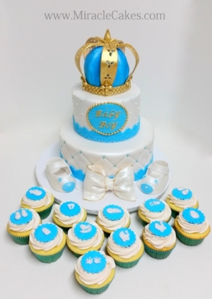 Prince theme baby shower cake and cupcakes