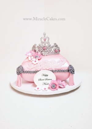 Pillow cake with a tiara topper-2