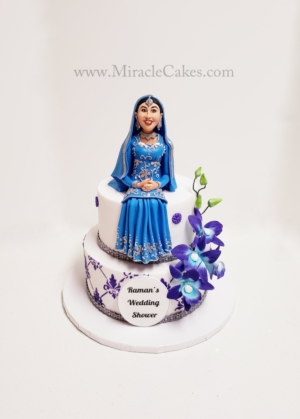 Bridal shower cake with a Indian bride figurine-2