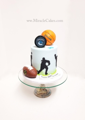 Hockey , Football & basketball themed cake
