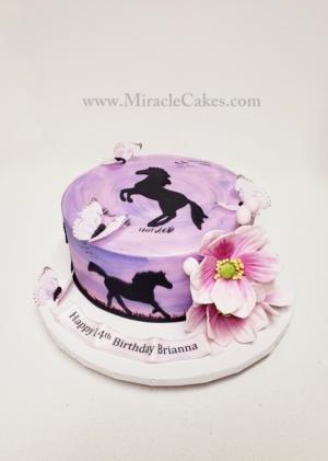 Horses & butterflies cake