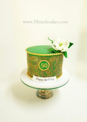 Gold & Green 50th cake
