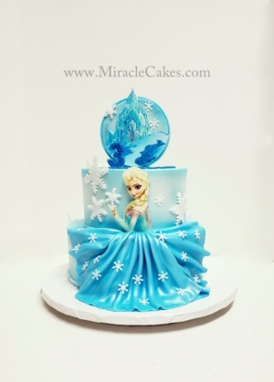 Frozen cake with princess Elsa