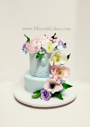 Polar Blue Spring flower wedding cake