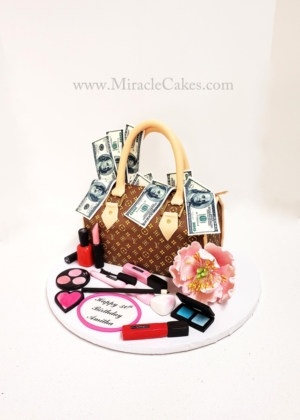 LV purse with makeup
