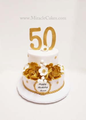 White and Gold 50th cake