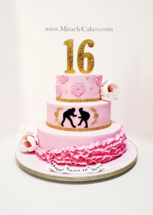 Pink and Gold sweet 16th cake