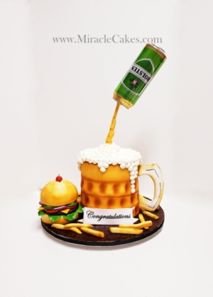 Pouring beer can and a burger cake