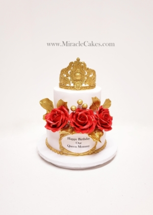 Red ,Gold and white Birthday cake