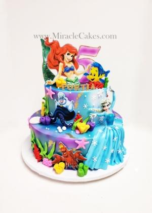 Ariel & Elsa themed cake