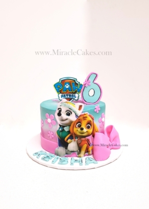 Paw patrol cake with Everest and Skye