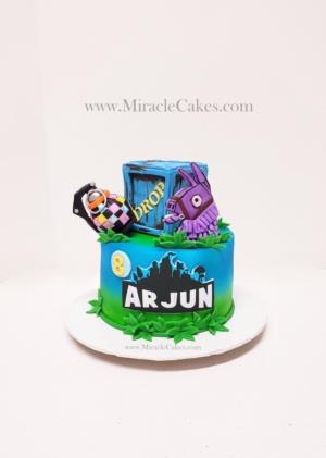 Fortnite game themed cake