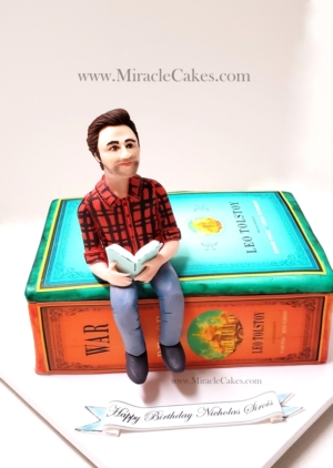 3D Book cake with a personalized figurine