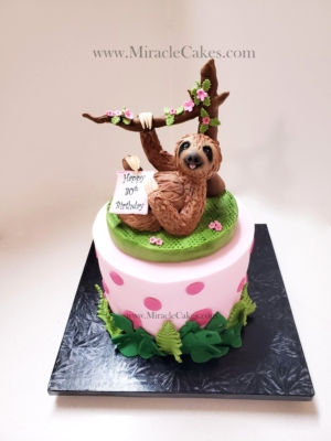 Sloth figurine topper for a Birthday cake