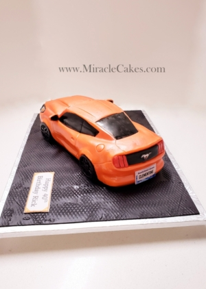 Competition Orange Ford Mustang car cake