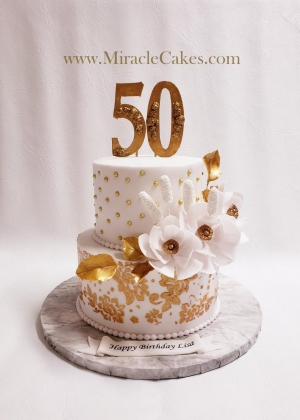 50th white and Gold cake
