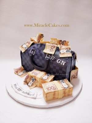 3D LV Duffle bag cake filled with money