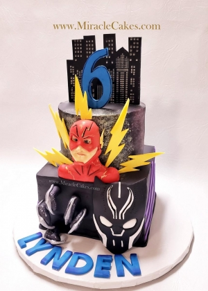 Black Panther and Flash theme cake