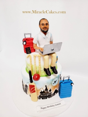 Travel and cricket theme cake with a personalized topper