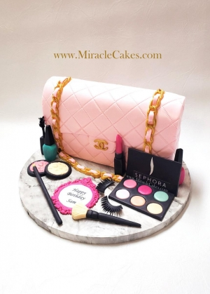 Chanel purse with make up