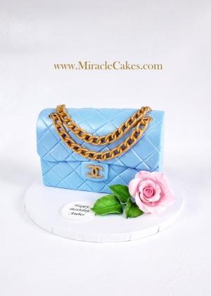 Blue Chanel purse cake