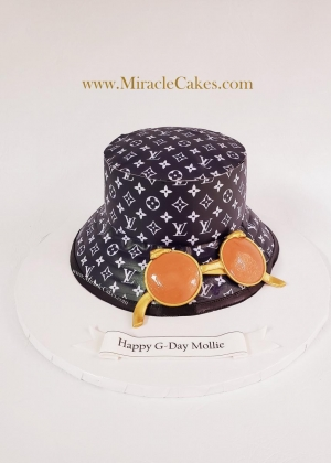 LV 3D Hat and sunglasses cake