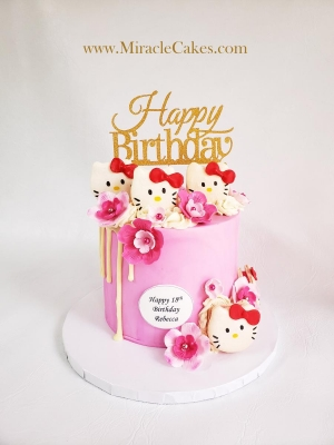 Hello Kitty macarons cake