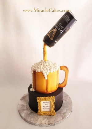 Guinness pouring beer cake